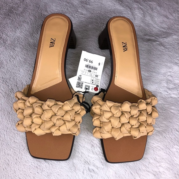 New!! Zara Heeled Woven Sandals Size: 8